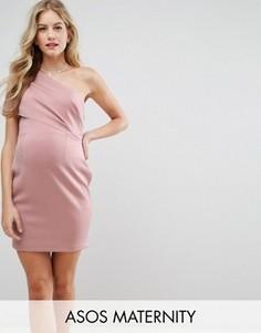 Платье мини на одно плечо с широким отворотом и молнией ASOS Maternity - Бежевый