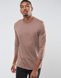 Длинная футболка с закатанными рукавами 3/4 ASOS - Коричневый