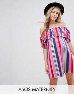 Платье в полоску с открытыми плечами и вышивкой ASOS Maternity - Мульти