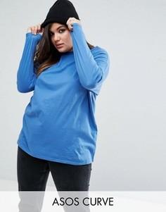 Oversize-футболка с длинными рукавами ASOS CURVE Ultimate - Синий