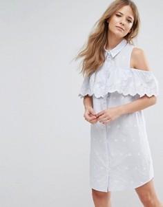 Платье-рубашка в тонкую полоску с вырезами на плечах Miss Selfridge - Белый