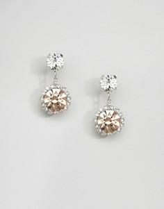 Серьги-подвески с кристаллами Swarovski Krystal London Rosetta - Серебряный