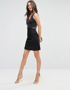 Мини-юбка с отделкой в виде корсета и завышенной талией ASOS - Черный
