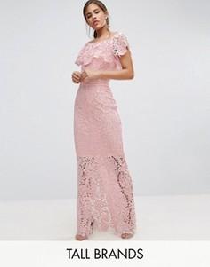 Кружевное платье макси с открытыми плечами и оборкой Paper Dolls Tall - Розовый