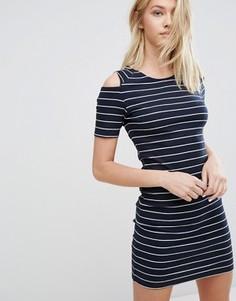 Облегающее платье в полоску с открытыми плечами J.D.Y - Синий JDY
