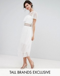 Платье миди с оборками и металлическими колечками True Decadence Tall - Белый