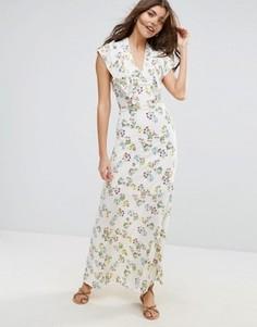 Платье макси на подкладке с мелким цветочным принтом Liquorish - Кремовый