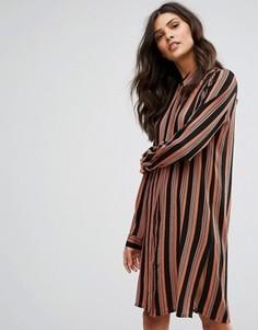Платье-рубашка в полоску с длинными рукавами Pieces Libby - Коричневый