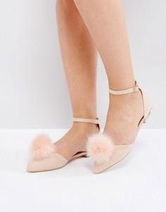 Туфли на плоской подошве с помпонами Miss KG - Розовый