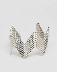 Массивный браслет-манжет с зигзагообразной отделкой Ashiana - Серебряный