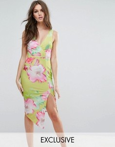 Платье миди с глубоким вырезом и цветочным принтом Ginger Fizz - Мульти