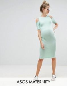 Облегающее платье в рубчик с открытыми плечами ASOS Maternity - Зеленый