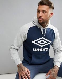 Темно-синее худи с крупным логотипом Umbro - Темно-синий