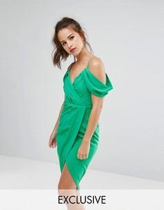 Платье с запахом, открытыми плечами и асимметричным краем Ginger Fizz - Зеленый