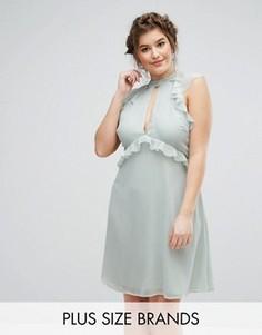 Короткое приталенное платье с рукавами-оборками Truly You - Зеленый