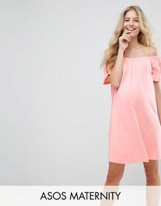 Платье мини для беременных с открытыми плечами ASOS Maternity - Розовый
