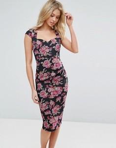 Платье-футляр миди с цветочным принтом и короткими рукавами Vesper - Розовый