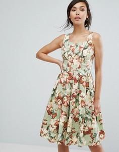 Короткое приталенное платье с цветочным принтом в винтажном стиле Vesper - Зеленый