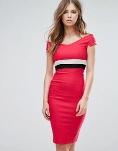 Платье-футляр миди с открытыми плечами и контрастным поясом Vesper - Розовый