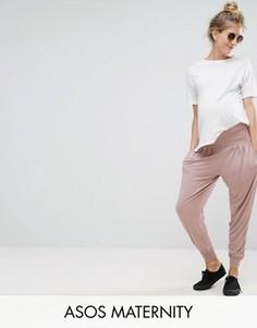 Трикотажные широкие брюки ASOS Maternity - Розовый