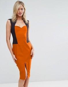 Платье-футляр миди с разрезом Vesper - Оранжевый