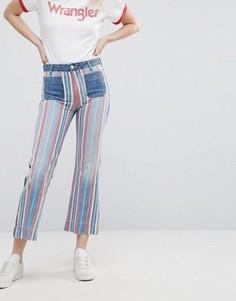 Укороченные расклешенные джинсы в полоску Wrangler - Мульти