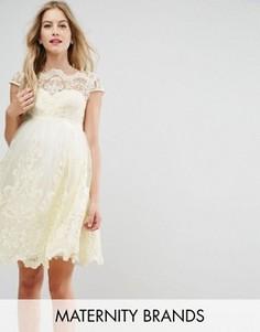 Платье-премиум для выпускного с вышивкой и юбкой из тюля Chi Chi London Maternity - Желтый