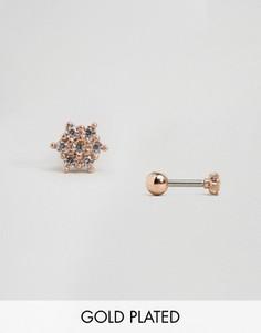 Серьги-гвоздики цвета розового золота в виде цветов Orelia - Золотой