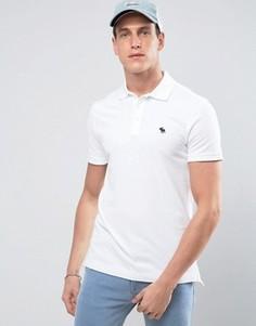 Белая облегающая футболка-поло из эластичного пике Abercrombie & Fitch - Белый