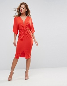 Платье-трансформер миди с глубоким вырезом и узлом ASOS - Оранжевый
