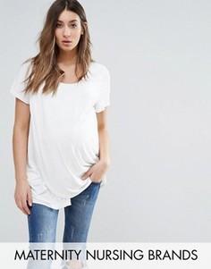 Трикотажная футболка с драпировкой и короткими рукавами Mamalicious Nursing - Белый Mama.Licious