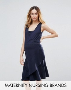 Трикотажное платье без рукавов с запахом Mamalicious Nursing - Темно-синий Mama.Licious