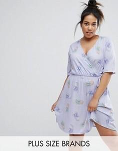 Платье с запахом и принтом ананасов Pink Clove - Фиолетовый