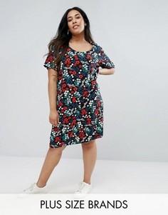 Цельнокройное платье с цветочным принтом Junarose - Черный