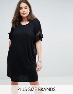 Платье с кружевными вставками Junarose - Черный