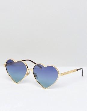 Солнцезащитные очки в форме сердец Wildfox Lolita - Золотой