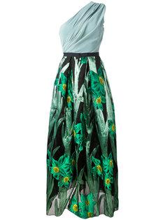 жаккардовое длинное платье с цветочным принтом Christian Pellizzari