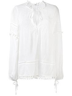 блузка с окантовкой из помпонов Blugirl