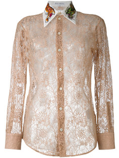 кружевная рубашка с вышивкой на воротнике  Melampo