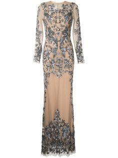 телесное вечернее платье с блестящей отделкой Zuhair Murad