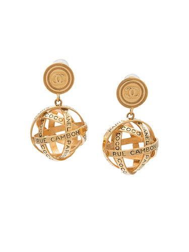 круглые серьги с подвесной сферой 'Rue Cambon' Chanel Vintage