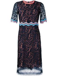 кружевное платье с контрастной оторочкой Peter Pilotto