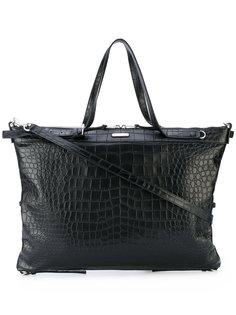 большая сумка-тоут с эффектом крокодиловой кожи Saint Laurent