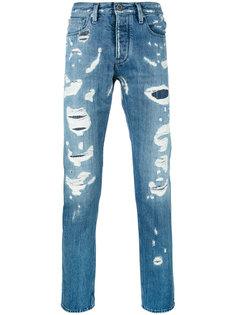 джинсы прямого кроя с потертой отделкой Emporio Armani