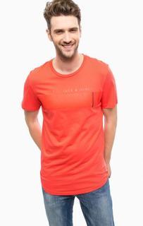 Красная футболка из хлопка Jack & Jones