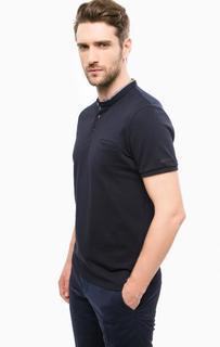 Синяя футболка с вырезом на пуговицах Lagerfeld