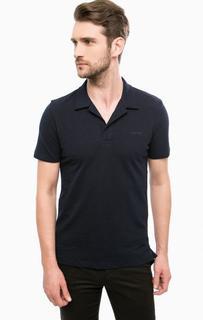 Синяя футболка поло с разрезами по бокам Lagerfeld