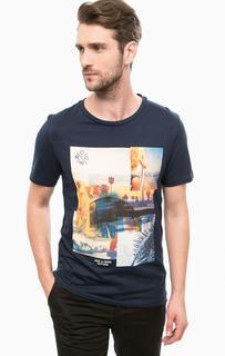 Синяя хлопковая футболка с круглым вырезом Jack & Jones