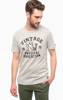 Серая футболка с принтом и нашивками Jack & Jones