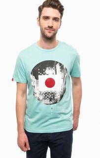 Бирюзовая футболка из хлопка Jack & Jones